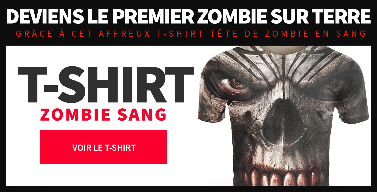 T shirt zombie homme