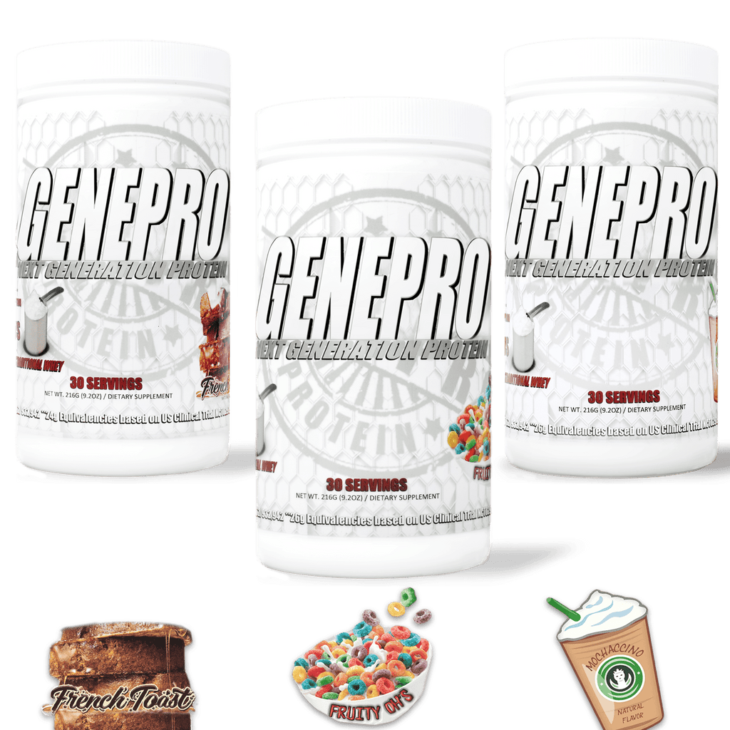 GENEPRO FLAVORS 3-Pack Bundle with: French Toast, Fruity Oh's, and Mochaccino + FREE GENEPRO COOKBOOK (DIGITAL)