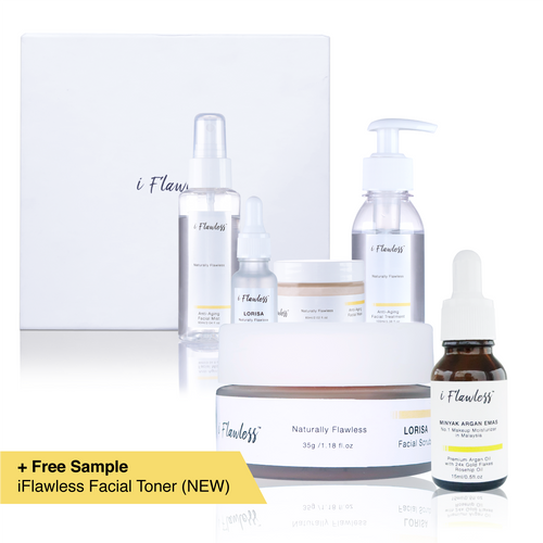 [Complete Full Set] iFlawless Facial Scrub LORISA® + iFlawless Argan Oil + iFlawless Skin Care Full Set