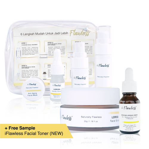 [Complete Trial Set] iFlawless Facial Scrub LORISA® + iFlawless Argan Oil + iFlawless Skin Care Trial Set