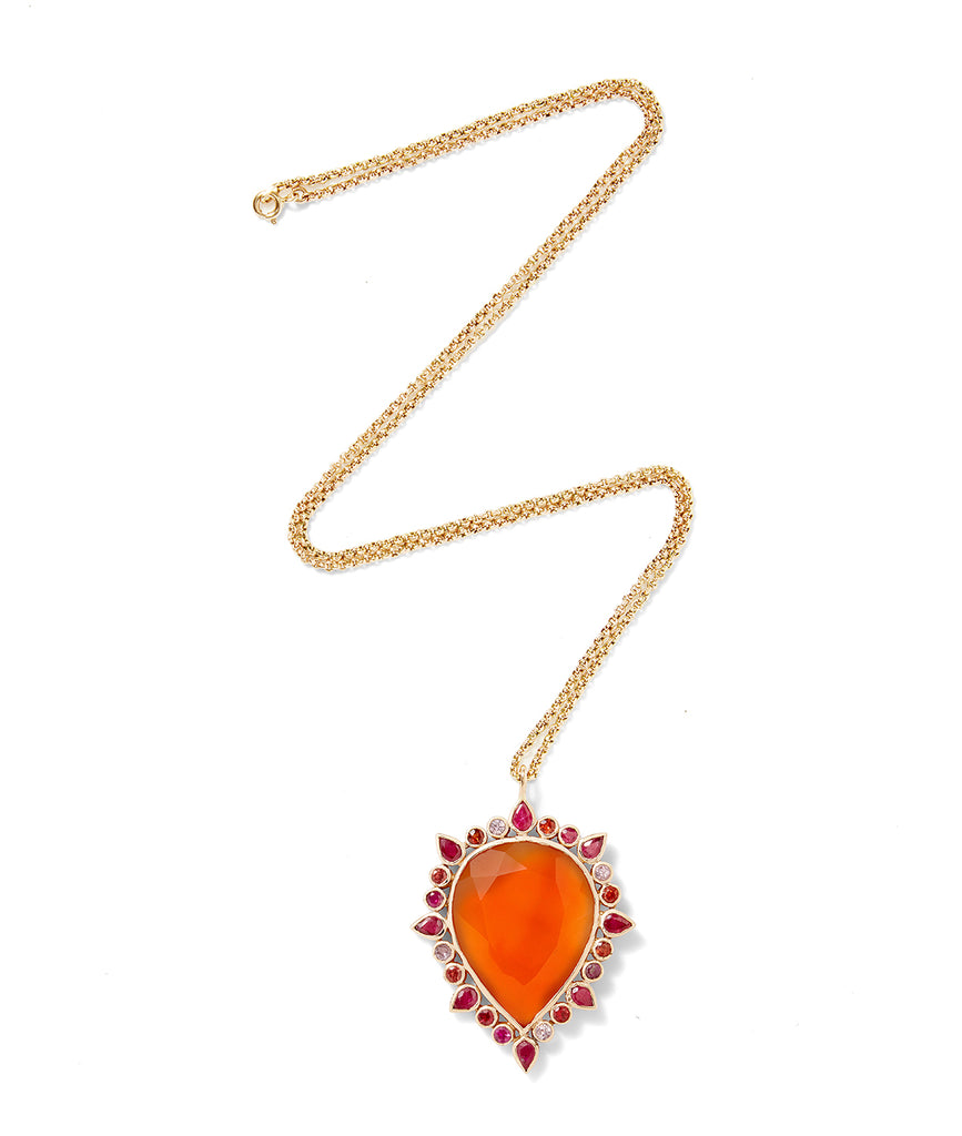 Coral pear drop necklace