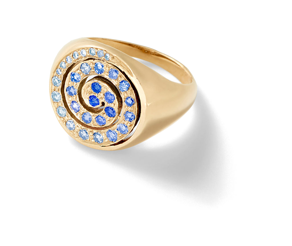 blue sapphire pinky ring