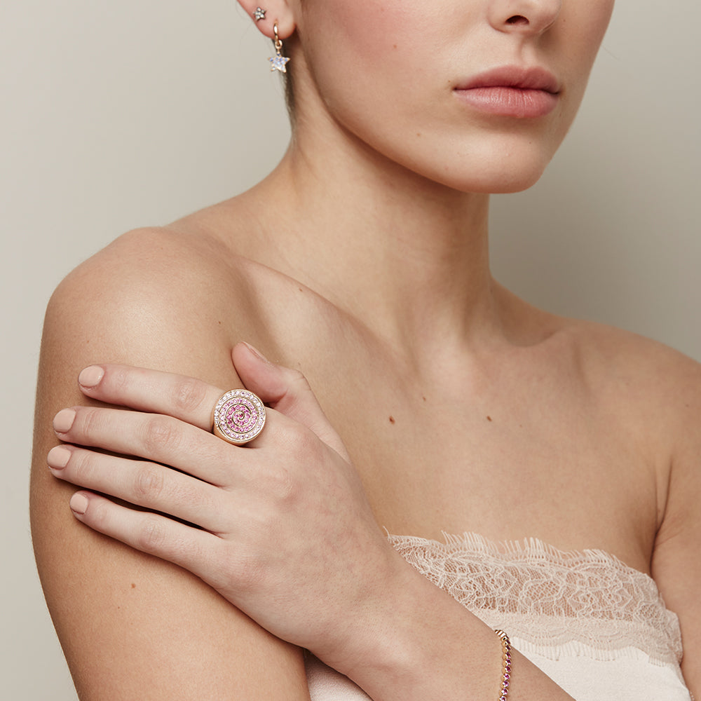 pink sapphire spiral cocktail ring