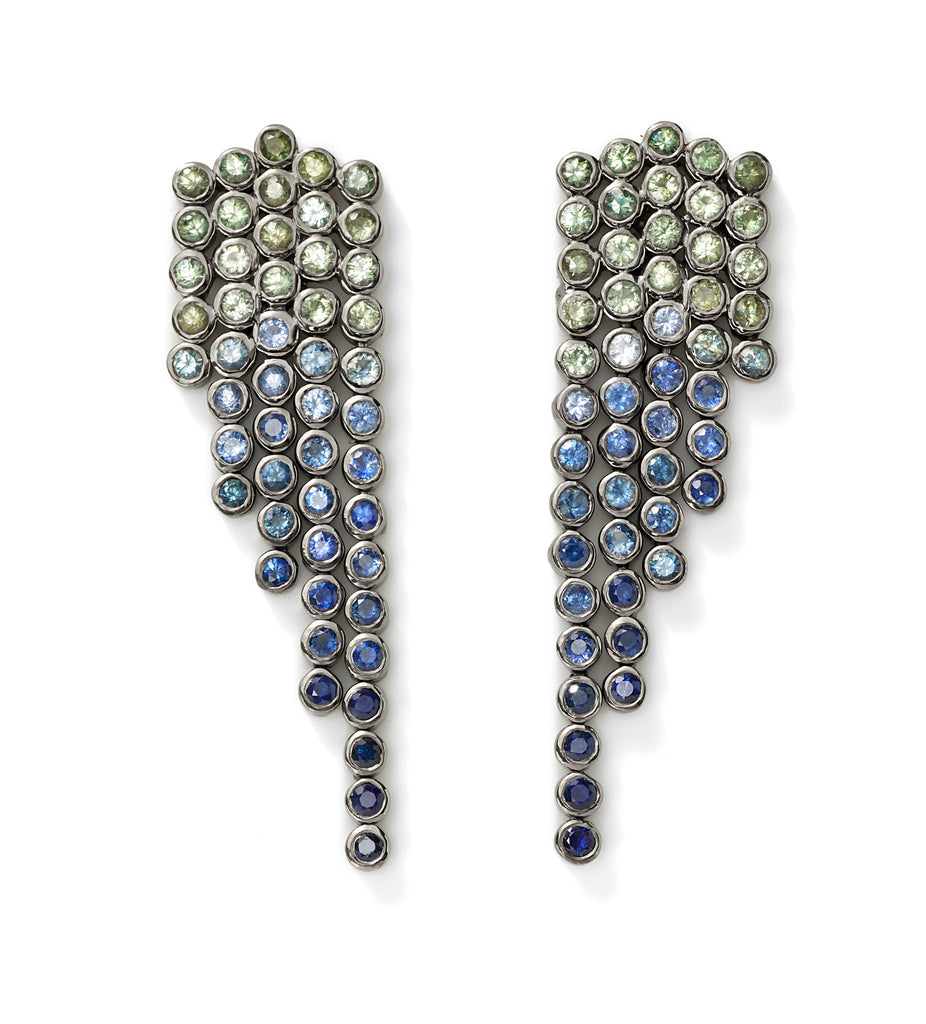 blue sapphire fringe earrings