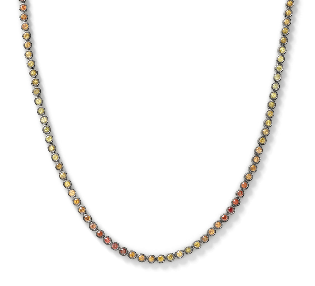 yellow ombré tennis necklace