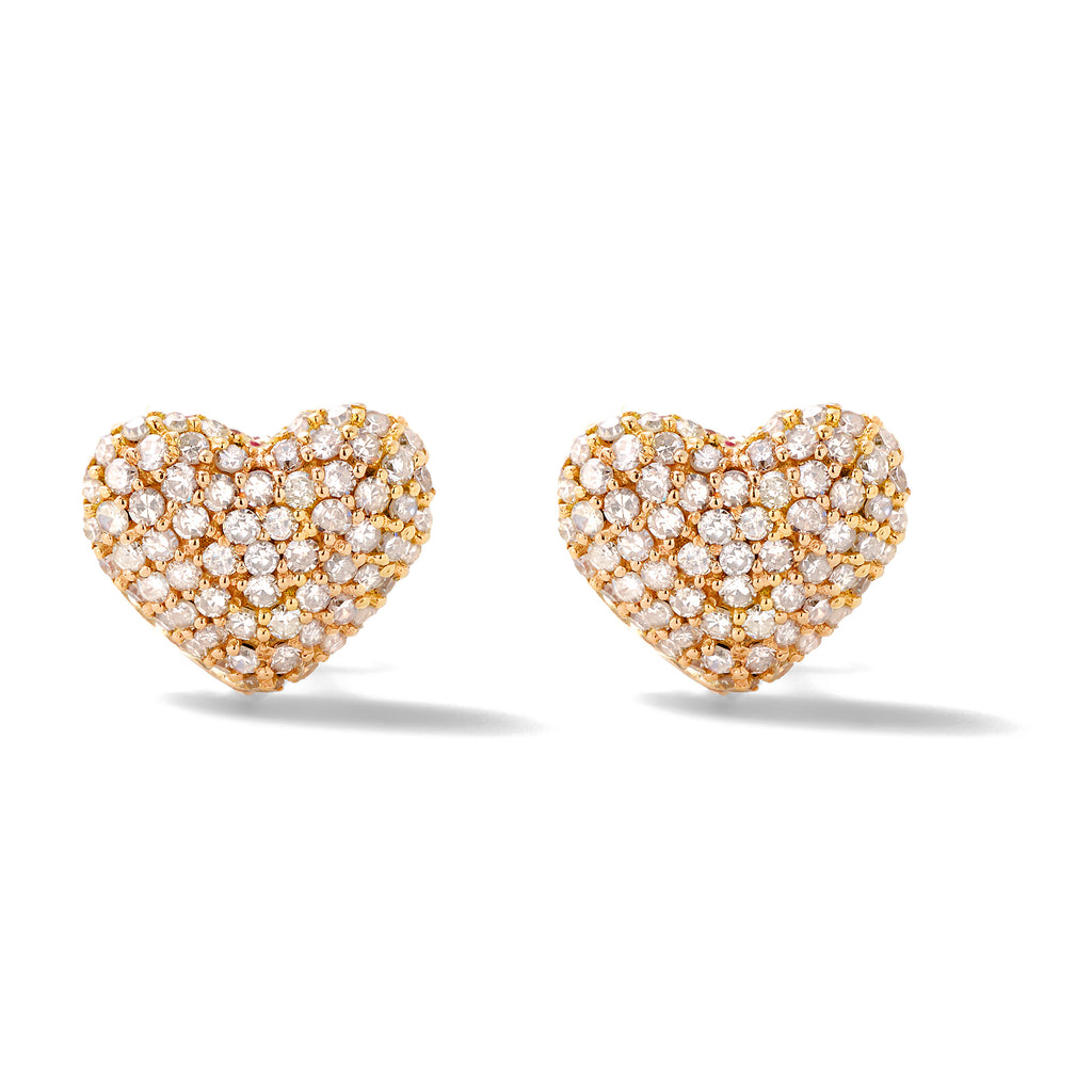 diamond puffy heart studs
