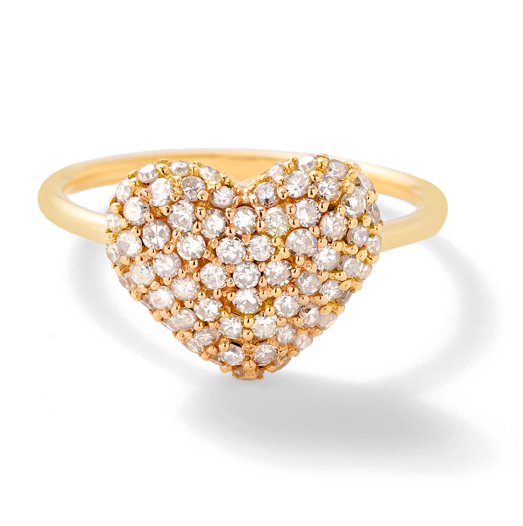diamond puffy heart ring