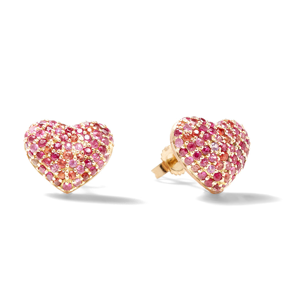 ruby puffy heart studs