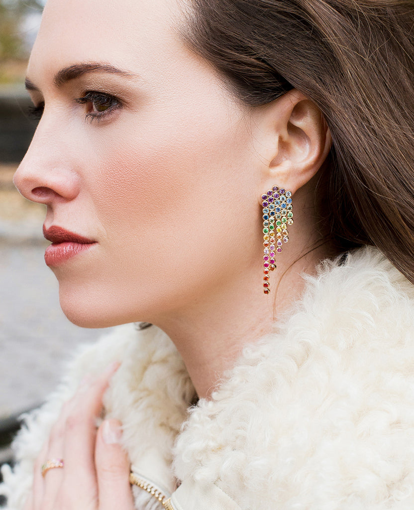 rainbow sapphire fringe earrings