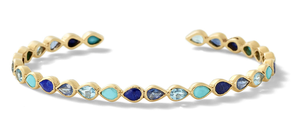 blue gemstone pear cuff