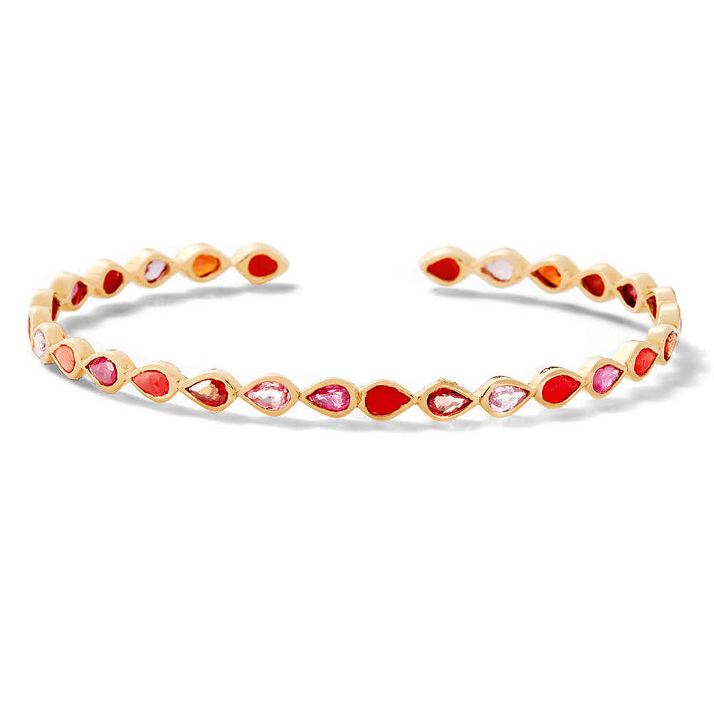 red gemstone pear cuff