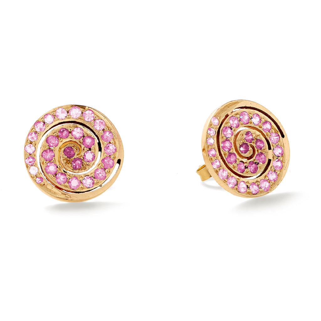 pink sapphire button stud