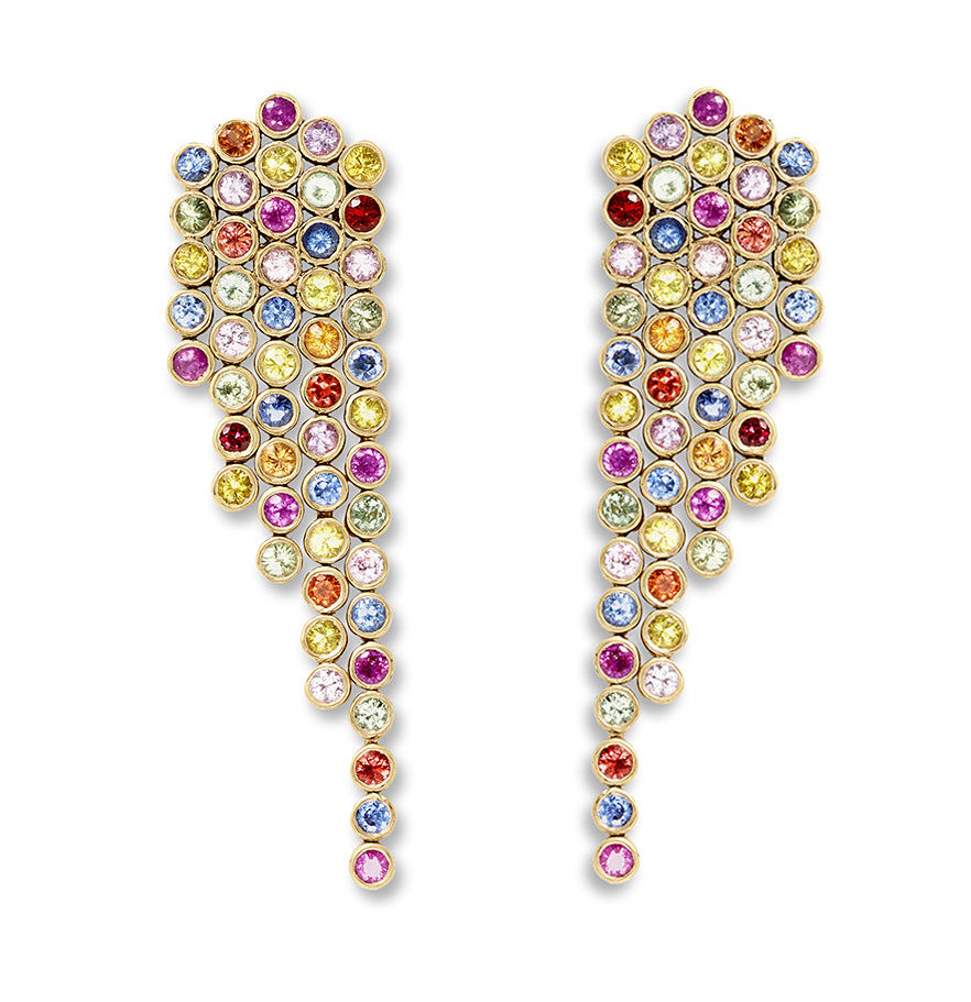 multi sapphire fringe earrings