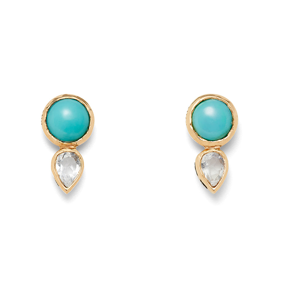 turquoise and moonstone cute stud