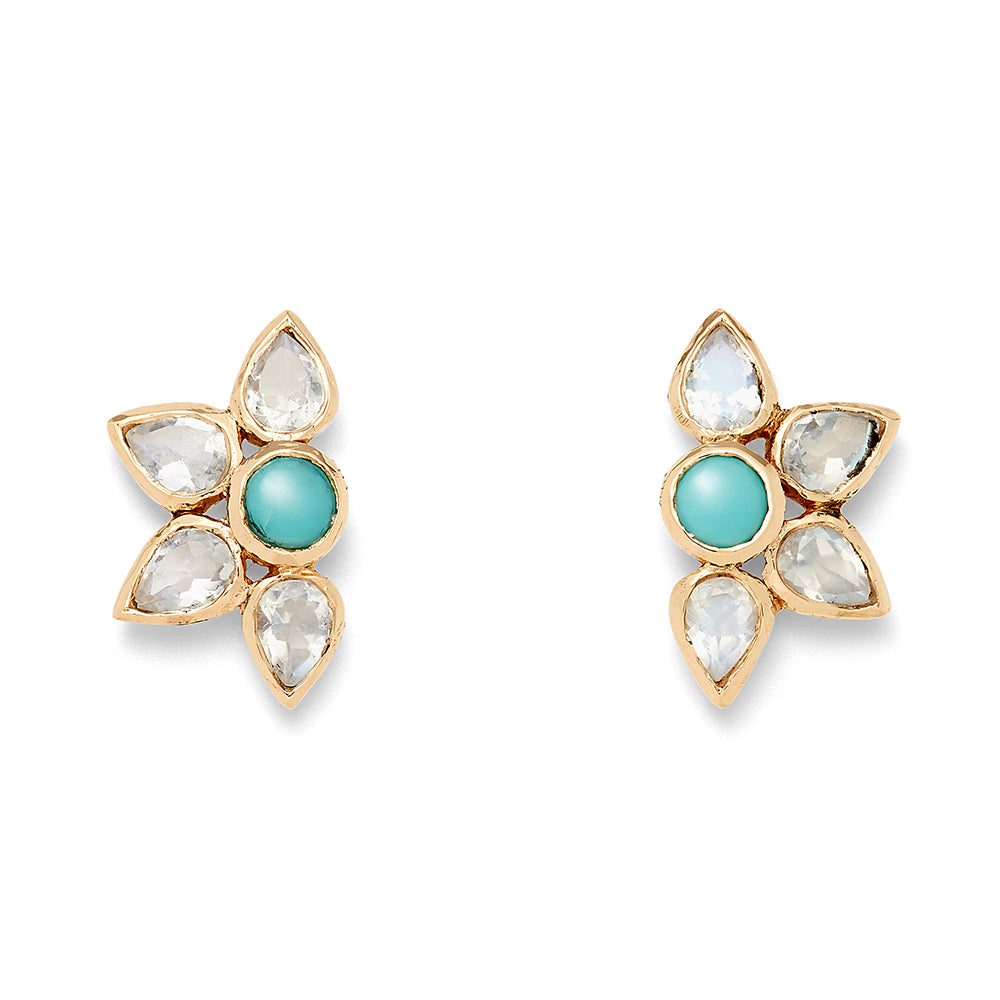 turquoise and moonstone fan stud