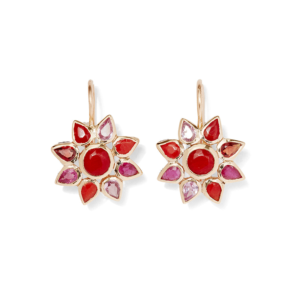 red gemstone floral hooks