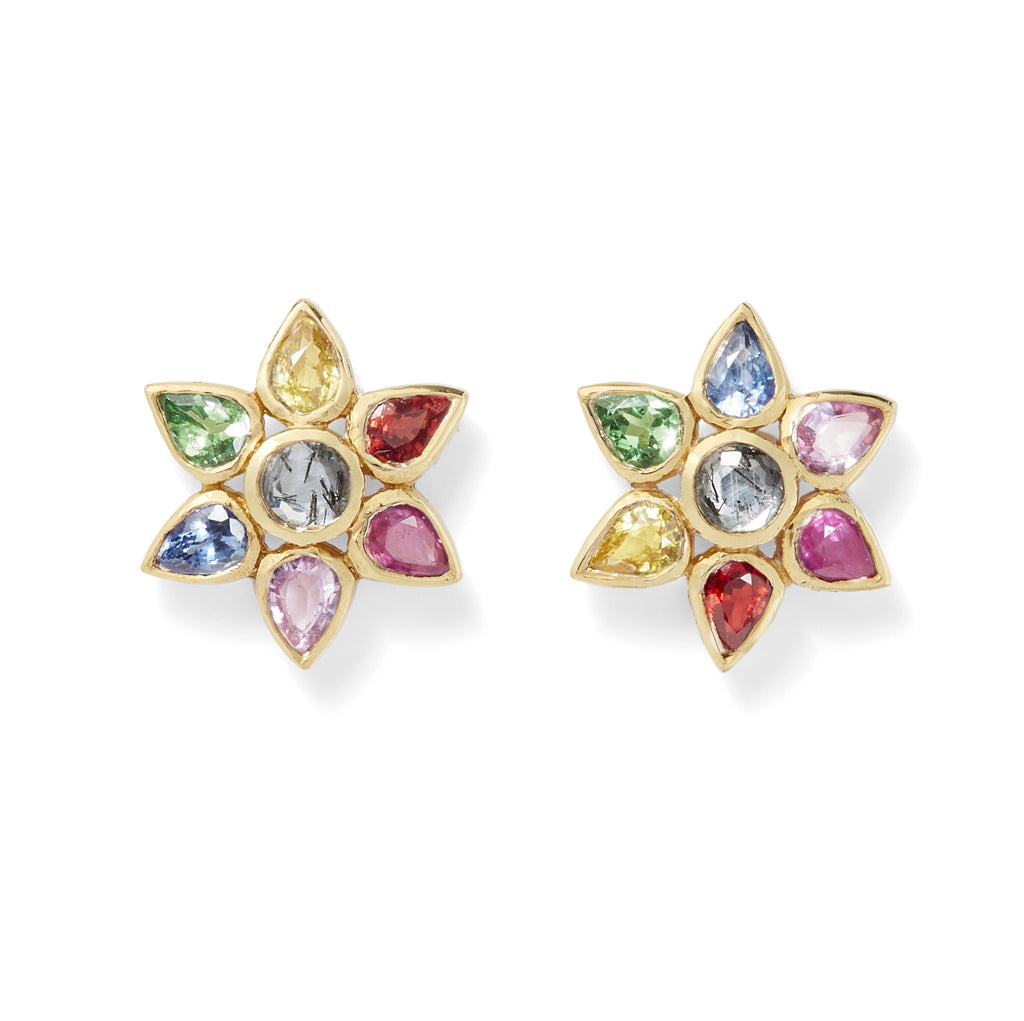 sapphire floral studs