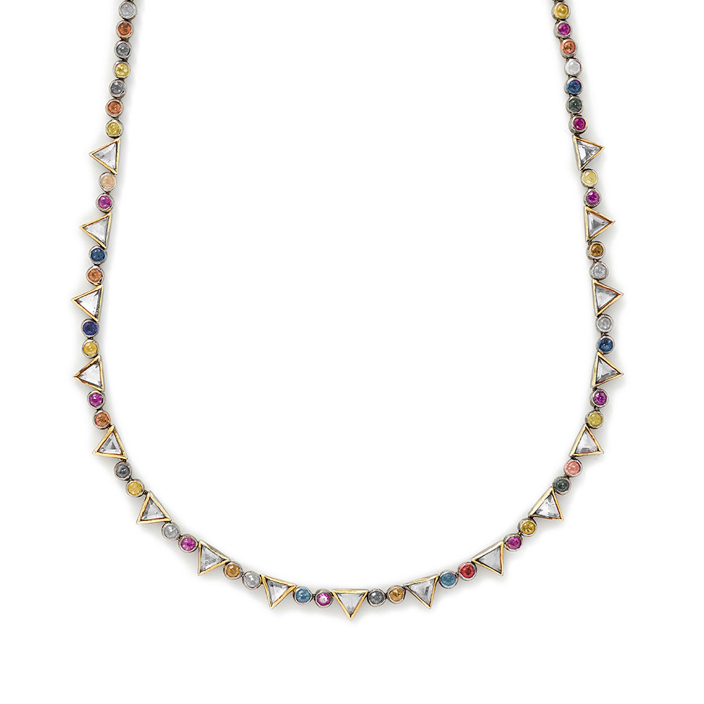 multi-sapphire and topaz necklace