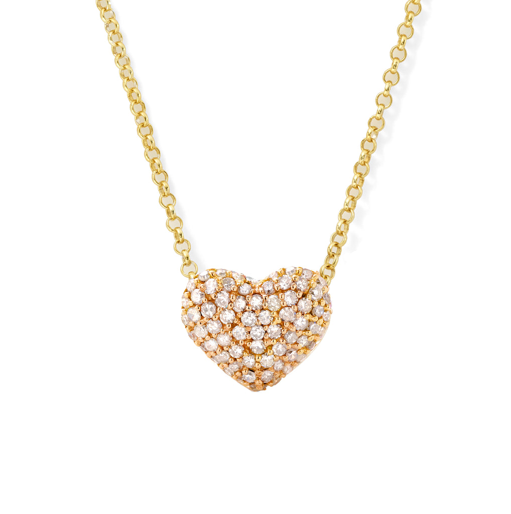 diamond puffy heart pendant