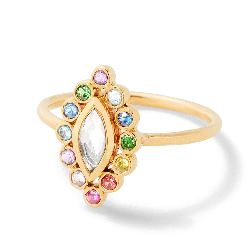 rainbow marquise ring