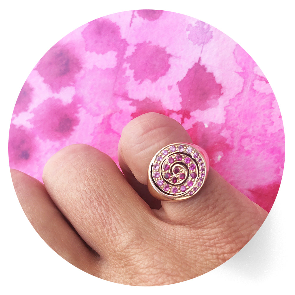 pink sapphire pinky ring