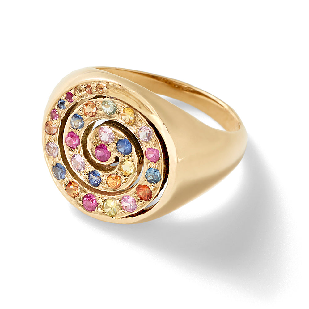 multi sapphire pinky ring