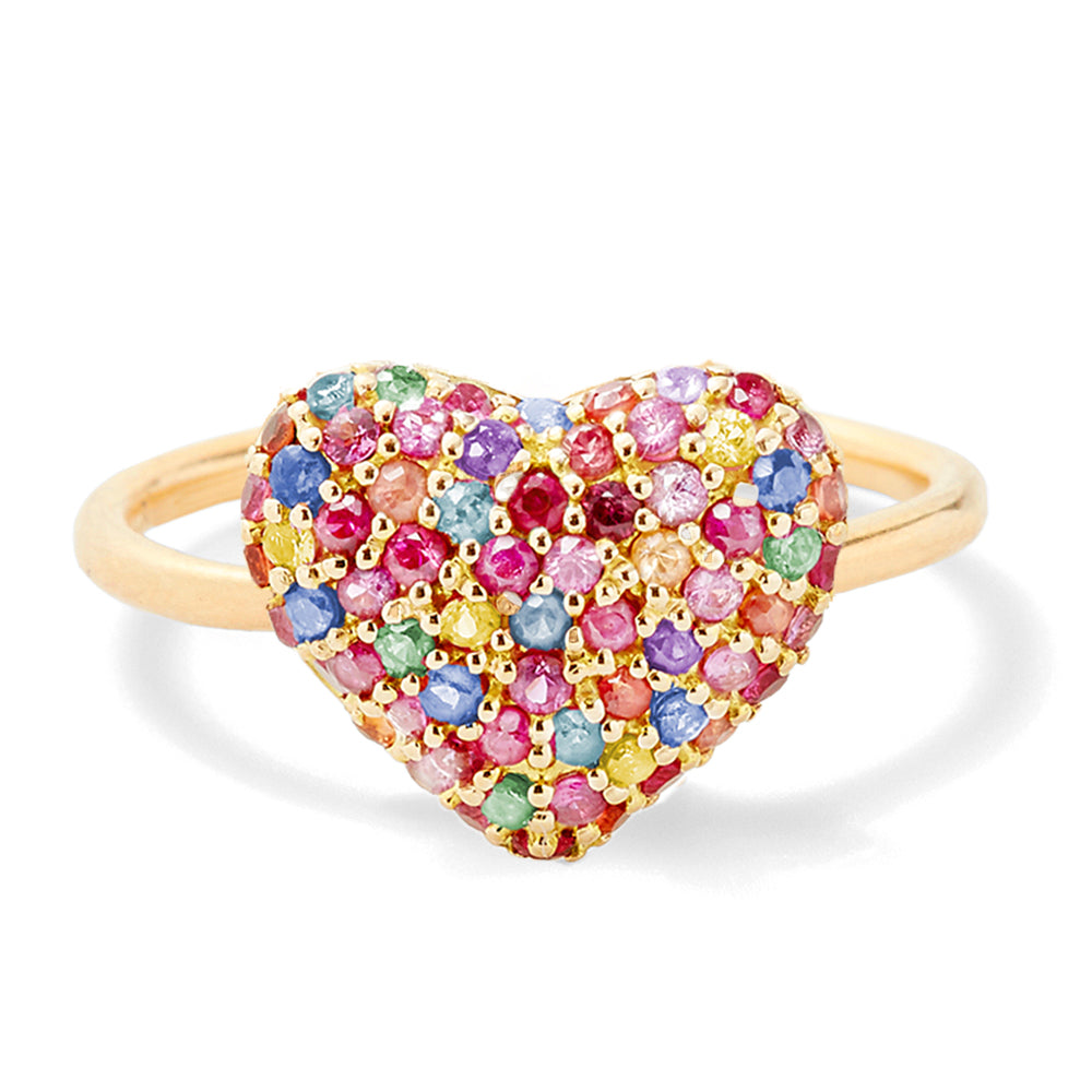 sapphire puffy heart ring