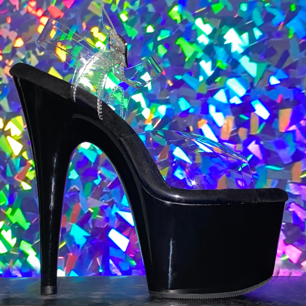 "7"" Black Shiny Heels - Golddiggers Boutique"