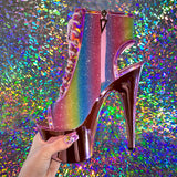 "7"" Sparkle Rainbow & Pink Chrome Booties - Golddiggers Boutique"