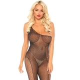 PLUS SIZE AVAILABLE: Black Asymmetrical Rhinestone Fishnet Bodystocking - Golddiggers Boutique
