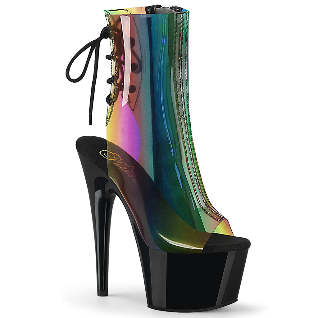 "7"" Rainbow Transparent Open Heel & Toe Ankle Booties - Golddiggers Boutique"