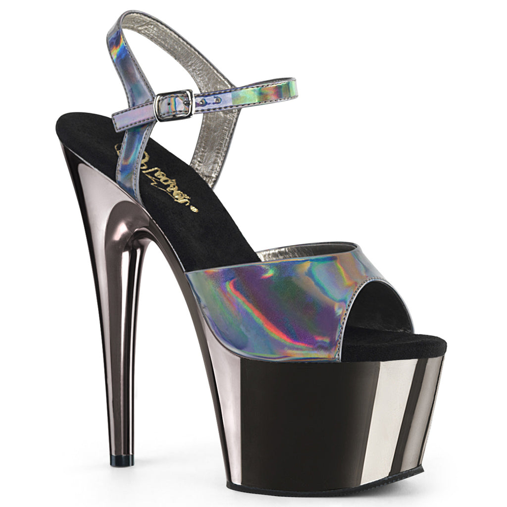 "7"" Pewter Gray Holographic Platform Heels - Golddiggers Boutique"