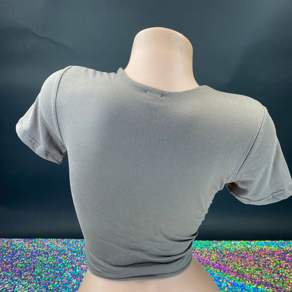 Super Soft Stone Gray Cropped Lounge Top - Golddiggers Boutique