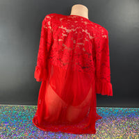 Red Lace Rubidacherry Bodysuit & Robe Set - Golddiggers Boutique