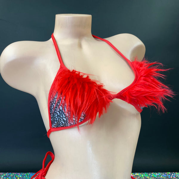 Red Fuzzy Wuzzy Tie-Side Thong Set - Golddiggers Boutique