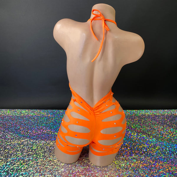 Neon Orange Sliced Up Ava Glitz Romper