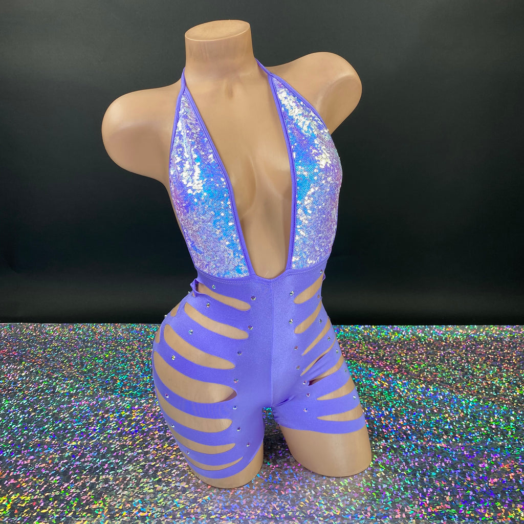 Lilac Sliced Up Ava Glitz Romper - Golddiggers Boutique