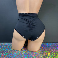 High Waisted Rhinestoned Scrunch Waitress Shorts - Golddiggers Boutique