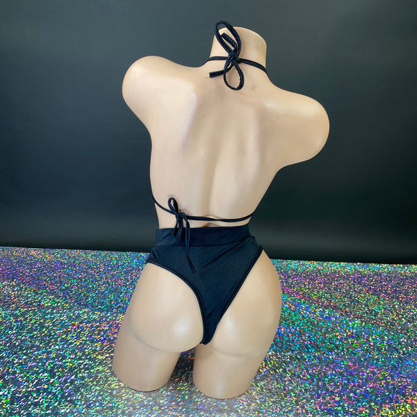 Black Cut Out High Waisted 'Kini - Golddiggers Boutique