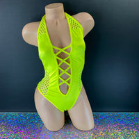 Hot Neon Yellow Criss-Cross Claire Bodysuit - Golddiggers Boutique
