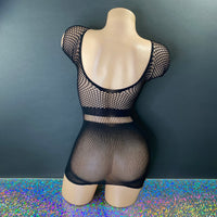 Black Fishnet Mini Dress - Golddiggers Boutique