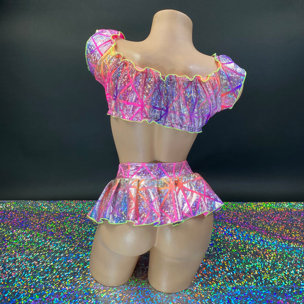 Holographic Rainbow Mini Skirt Set - Golddiggers Boutique