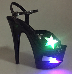 "7"" Black Glitter Light Up Heels - Golddiggers Boutique"