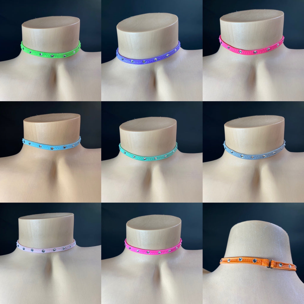 Colored Rhinestone Chokers - Golddiggers Boutique