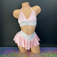 Baby Pink and White Lace Leslie Skirt Set - Golddiggers Boutique