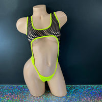 Neon Yellow & Black Net Gia Bodysuit - Golddiggers Boutique