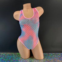 Cotton Candy Net Bodysuit - Golddiggers Boutique