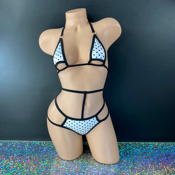 Black and White Polka Dot 'Kini - Golddiggers Boutique