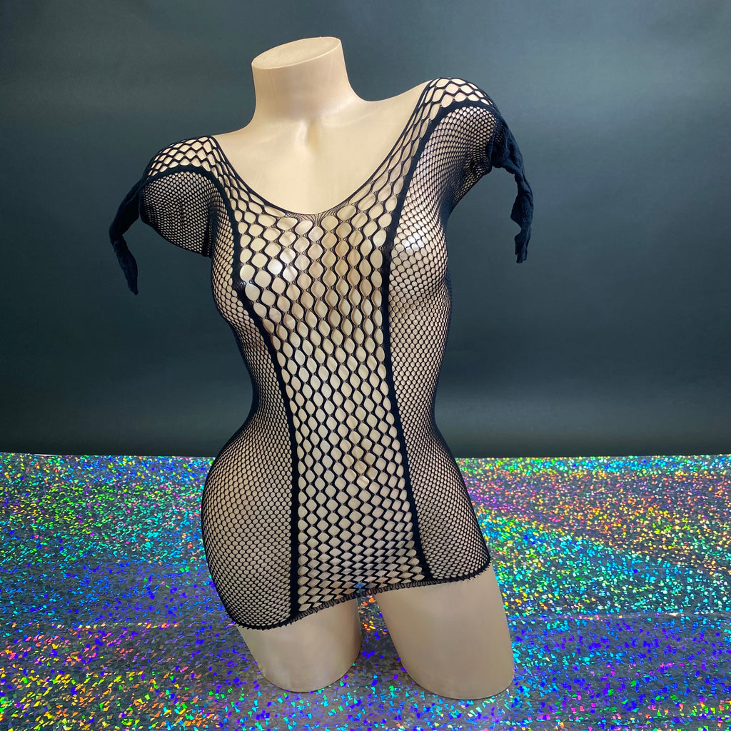 Black Fishnet Journie Mini Dress - Golddiggers Boutique