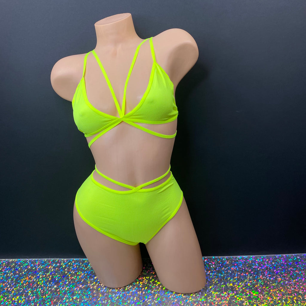 Neon Yellow High Waisted Booty Short Set - Golddiggers Boutique